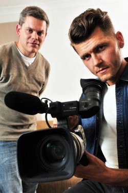 Producer and writer Tony Hooper, left, and Director Byron J Brochmann  have come together to take a stand against domestic violence through the production of a short film titled 'Under the Bed' 110279 Picture: DAMJAN JANEVSKI