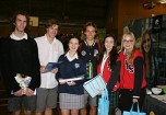 Gathering information were, from left, Nathan Drain, Nick Goss, Emma Piper and Dale Thomas from Port Macquarie High School with Jade Bailey and Sallie Johnson from Westport High School.